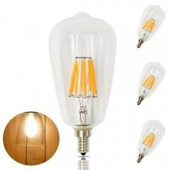8W ST21 LED Candelabra Edison Filament Bulb ST64 E12 Candelabra Base 110V Clear Squirrel Cage Style Decorative Bulb 80W Incandescent Equivalent
