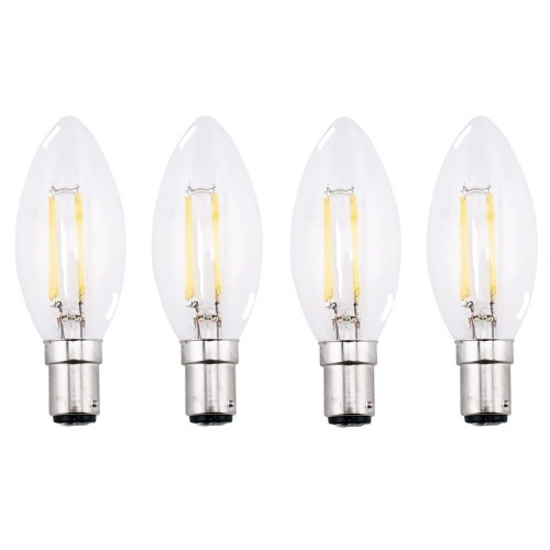 C35 B15 LED Candle Bulb 4W 220V Filament Light Bulb Crystal Chandelier LED Lamp With Glass Torpedo Shape 40W Incandescent Replacement-Pack of 4