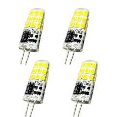3 Watt AC/DC 12V G4 LED Light Bulb 25 Watt Halogen Bulbs Equivalent, Bi-Pin Base T3 JC Type G4 Lamp Silicone Coated LED Lights (4-Pack)
