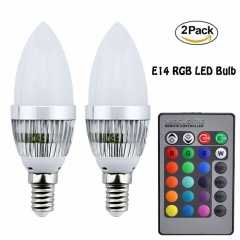 3W E14 LED RGB Light Bulb 16 Colors Changing SES Candle Bulbs Dimmable Mood Lighting with Remote Controller for Bar Party Home Decoration (2-Pack)