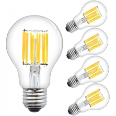Lustaled 12W LED A19 Dimmable Filament Light Bulbs A60 LED Clear Glass Vintage Edison Style Lights Medium E26 Base  (4-Pack)